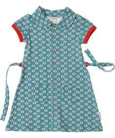 Baba Babywear gorgeous blue retro flower polo dress. baba-babywear.en.emilea.be