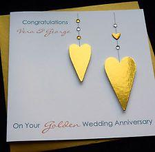 Personalised Handmade Golden / 50th Wedding Anniversary / Wedding Card