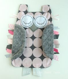 Pink Bloom and Gray Disco Dot OWL Ribbon Tag Baby Blankie in Michael Miller Fabric with Gray Minky Blanket Lovey Lovie Baby Gift. $24.00, via Etsy.