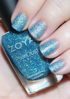 This is Zoya Bay  Swatches & Review of the Zoya Pixie Dust Seashells Collection including Levi, Bay, Cece, Linds, Zooey, & Tilly on All Things Beautiful XO Fun Nails, Nice Nails, Pretty Nail Colors, Blue Nail Polish, Nails Only, Holographic Glitter, Blue Makeup, Holiday Nails, Nail Art Designs