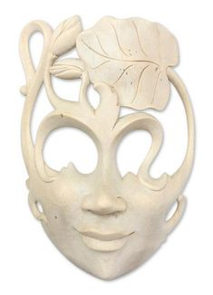 Wood mask, 'Lady of the Lotus' by NOVICA