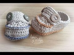 Tutorial Mocasines Bebé Crochet o Ganchillo Baby Moccasins (English subtitles) - YouTube