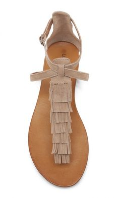Nude suede fringe flat sandal by Lucky Brand