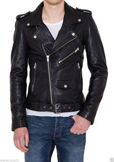 Men Leather Jacket Handmade Back Motorcycle Solid Lambskin