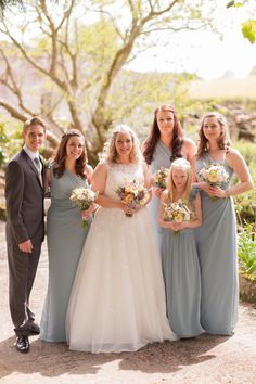 Darren's and Sarah's Field of Dreams wedding is peach perfection! Grey Blue Bridesmaid Dresses, Blue Bridesmaids, Wedding Dresses, Field Of Dreams, Blue Grey, Dream Wedding, Wedding Inspiration, Peach, Day