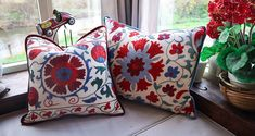 Suzanis Cushions | India by Florence Interior Detailing, Colourful Cushions, Interior Design Companies, Florence, Velvet, India, Throw Pillows, Fabric, Decor