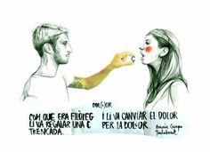 "capdepardals: "" Amaia Crespo i Paula Bonet Trading pain for sweetness "" Adara Sanchez, Paula Bonet, Pies Art, Spanish Artists, Beautiful Drawings, All You Need Is Love, Some Words, Doodle Art, Amazing Art"