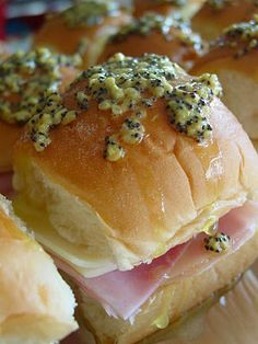 Ham and Cheese Sliders with Poppyseed Mustard Sauce