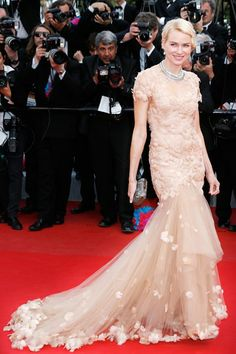 Naomi Watts in a Marchesa autumn/winter 2012-13 nude embroidered gown at the premiere of Madagascar 3.