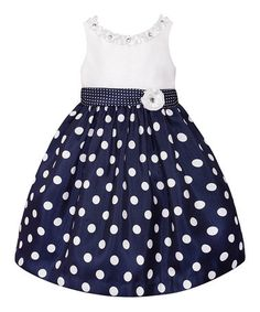 Loving this Navy & White Polka Dot Dress - Toddler & Girls on #zulily! #zulilyfinds