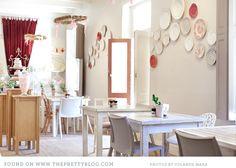 The Birdcage Tea Bar Stellenbosch, main area White Wash Table, Cafeteria Design, Cafe Bistro, Vintage Plates, Bird Cage, Plates On Wall, Interior Design, Bar Interior, Wall Decor