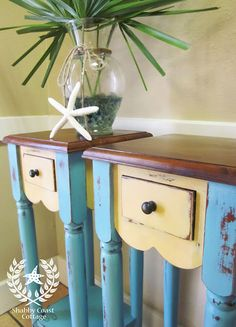 Side Tables Turquoise with Creamy Yellow Drawer Front and Stained Tops