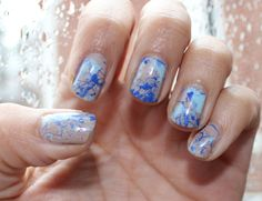 DIY. Paint Splattered Nails. What you need: 3 different nail polish colors, a drinking straw, nail polish remover, & a nail brush
