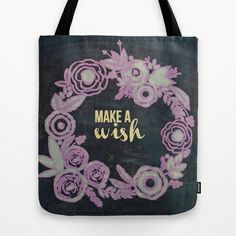Rustic vintage make a wish floral lilac dark blue pillow by healinglove Tote Bag by Healinglove products - $22.00