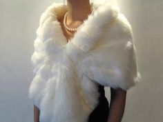 Ivory faux fur wrap bridal wrap faux fur shrug faux by alexbridal