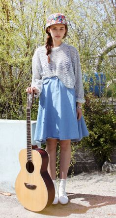denim skirt with knit sweater