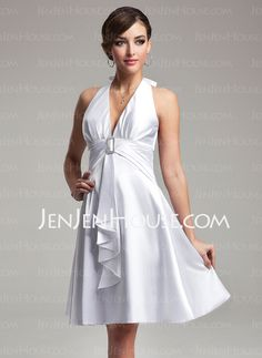 Bridesmaid Dresses - $92.99 - Empire Halter Knee-Length Charmeuse Bridesmaid Dress With Ruffle Crystal Brooch (007021071) http://jenjenhouse.com/Empire-Halter-Knee-Length-Charmeuse-Bridesmaid-Dress-With-Ruffle-Crystal-Brooch-007021071-g21071
