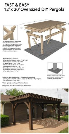 Build a Fast DIY Beautiful Backyard Shade Structure Fast and easy oversize DIY pergola!Fast and easy oversize DIY pergola! Diy Pergola, Timber Pergola, Building A Pergola, Pergola Canopy, Wooden Pergola, Outdoor Pergola, Pergola Ideas, Outdoor Shade, Pergola Roof