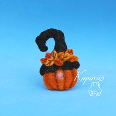 Pumpkin. Witch hat with leaves. Halloween. Fall. Autumn. Thanksgiving gifts…