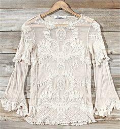 lace bell sleeve boho blouse