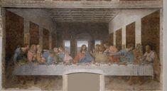 Leonardo_da_Vinci_-_The_Last_Supper_high_res:  L'Ultima Cena è un dipinto parietale a tempera grassa (e forse altri leganti oleosi) su intonaco[1] (460×880 cm) di Leonardo da Vinci, databile al 1494-1498 e conservato nell'ex-refettorio rinascimentale del convento adiacente al santuario di Santa Maria delle Grazie a Milano.