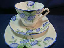 ROYAL STAFFORD TEA CUP AND SAUCER TRIO HP BLUE MORNING GLORY ART DECO VINTAGE