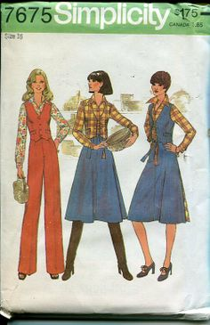 Sewing Patterns,Vintage,Out of Print,Retro,Vogue Simplicity McCall's,Over 7000 - Simplicity 7675 Retro 1970's Vest Skirt Pants Blouse
