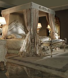 Extravagant Luxurious 4 poster bed carved by artisans by hand in one of the best Italian factories we work with. Made to highest standards.