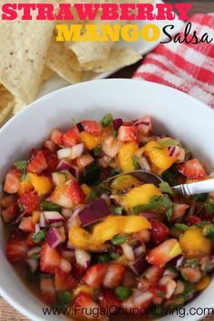 Frugal Coupon Living's Strawberry Mango Salsa Recipe - a blend of finely chopped fruits and vegetables creating a sweet Salsa. Mango Salsa Recipes, Fruit Smoothie Recipes, Fruit Recipes, Summer Recipes, Mexican Food Recipes, Appetizer Recipes, Salad Recipes, Appetizers, Cooking Recipes
