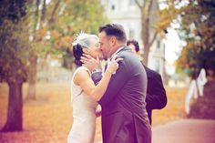Adorable first kiss! Photo by Shinano.  #weddingphotographersMN #weddingphotography