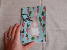 Hand Painted Large Booklet // Bunny // What's by PeelsandPosies, $12.00