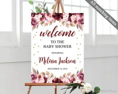 Marsala and Gold Welcome Poster Template. Printable Pink Floral Welcome Poster. Baby Shower Fall, Baby Shower Signs, Fall Baby, Floral Baby Shower, Baby Shower Parties, Burgundy Baby Shower, Baby Showers Juegos, Graham, Welcome Baby Showers