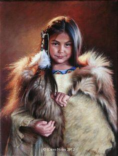 """Little Bear Robe"" 12"" X 9"" Oil on Linen -Western and Native American Fine Art by Karen Noles"
