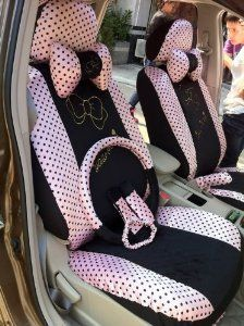 Hello Kitty 18pcs Water Jade Pink Bows Universal Car Seat Covers Automotive Steering Wheel Cover Rear View Mirror