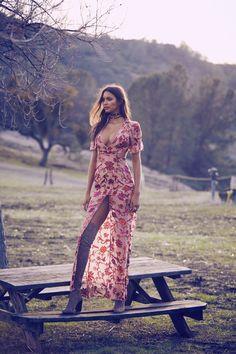 Lais Ribeiro flaunts her legs in Saffron maxi dress from For Love & Lemons