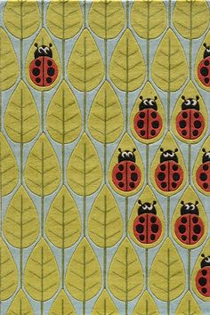 ladybug rugs and carpets   Kids bedrooms / Ladybug carpet? Here you go! Beautiful rug in green ...