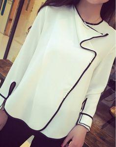 Ladies' Crew Neck Long Sleeve Black Edge Pearl Buttons Elegant Slim Shirt