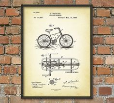 Bicycle Gearing Patent Wall Art Poster by QuantumPrints on Etsy