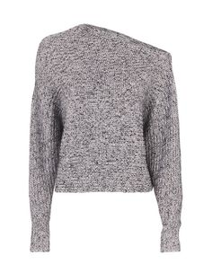 T by Alexander Wang Marled Asymmetric Chunky Pullover: An asymmetric cut at neckline drops into long sleeves on this cropped chunky knit. In marled black/white. Fabric: 50% cotton/32% acrylic/8% nylon/5% wool/5% mohair Made in China. Model Measurements: Height 5'10 1/2; Waist 24 ; Bust 31 wearing size S ...