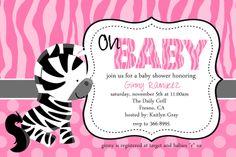 Melinda can make these customized for Aubree.    Baby Zebra Baby Shower Invitation. $12.50, via Etsy.