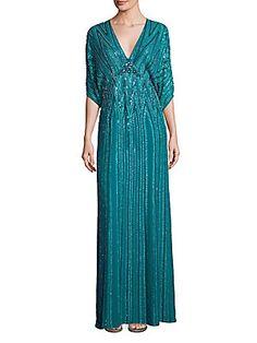 Jenny Packham Sequin Embellished Gown - Emerald