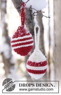 """DROPS Extra 0-803 - Knitted DROPS Christmas balls in """"Alaska"""". - Free pattern by DROPS Design"""