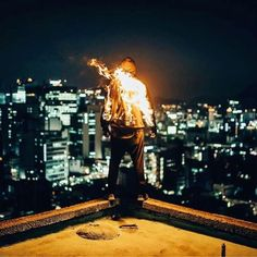 "Fire on clothing reference and inspiration for Elementum - S T O R R O R (@storror) on Instagram: ""R O O F  C U L T U R E  A S I A  04/09/17  #storror #parkour #roofcultureasia  by @drewftaylor"""