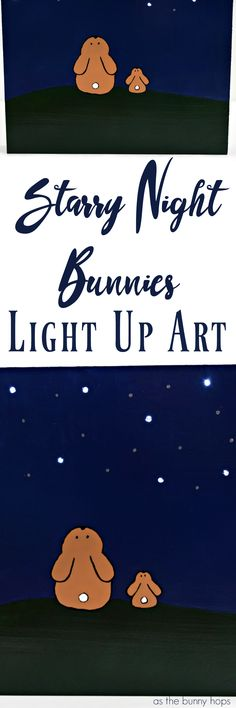 Make the night a little brighter with this Starry Night Bunnies light up art DIY project! You just need a wooden canvas, paint, a drill and battery operated lights!