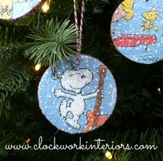 Kid friendly Christmas ornaments made with Target $1 wood slices, wrapping paper…