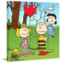 Description: Love is in the air in this Valentine's Day Peanuts wall art. Sally passes holds a bright red heart balloon while, Lucy ties hearts to a tree. Poor Charlie Brown, his ballon has popped! Th