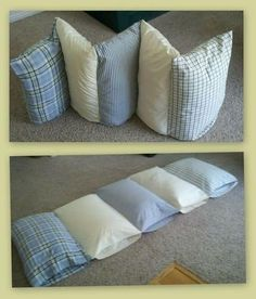 Como hacer colchonetas uniendo fundas de almohadas Diy Couch, Diy Pillows, Throw Pillows, Crafty Hobbies, Kids Stool, Outdoor Couch, Patchwork Pillow, Funky Design, Floor Cushions