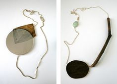 """Pia Aleborg (SE). In the Act- Series.  """"Starting point in this series of necklaces has been the typical Swedish suburb. I have observed its general shapes and colors but above all its specific details: repairs in the asphalt, leaves lying on garden lawns, wooden sticks dropped on sidewalks, and how public pavements turn into private gardens – the """"constructed nature"""" of the suburb."""""""