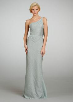 A-line One-shoulder Textured Bridesmaid Dress with Bow Back