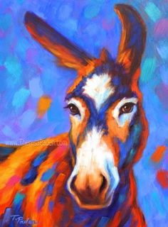 Donkey Painting in Bright Colors by Theresa Paden, painting by artist Theresa Paden